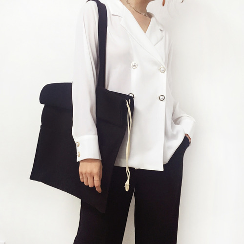 cotton shirring bag-black