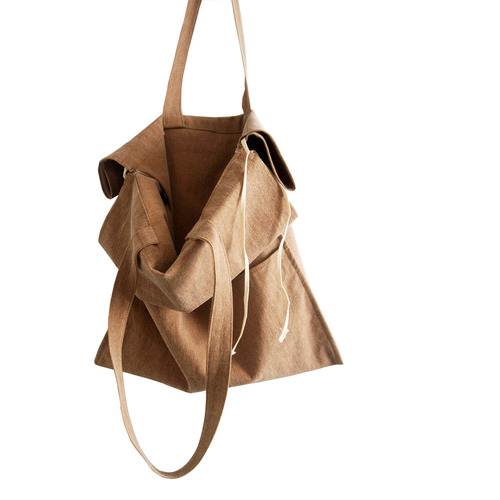cotton shirring bag-camel