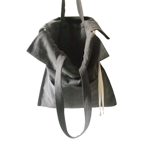 (재고소진sale) cotton shirring bag-charcoal