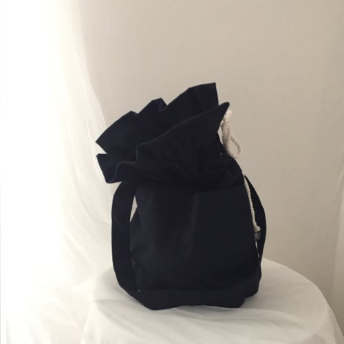 (sale)leopard cotton bucket bag_navy