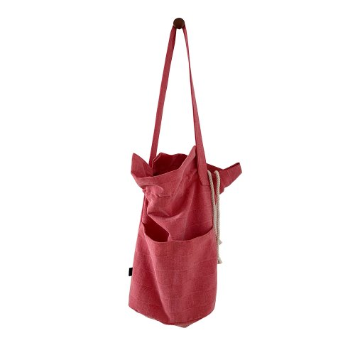 (new5%) waffle cotton bucketbag_cherry red