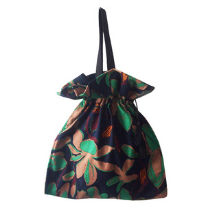 green shirring bag