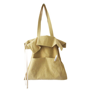 cotton shirring bag-yellow green