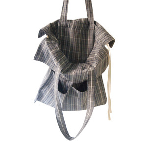 cotton shirring bag-check