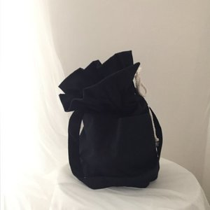 leopard cotton bucket bag_navy