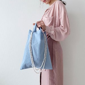 (new5%) string eco bag_blue