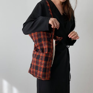 (new5%) tartan check bucket bag_red